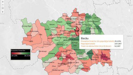 Câți sunt și unde locuiesc tinerii din județul Bacău. Hartă interactivă a situației pe fiecare localitate
